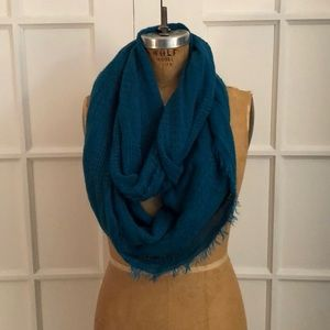 Teal woven textured infinity scarf